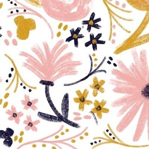 Floral - pink, gold, blue pattern, feminine flowers, blush aesthetic