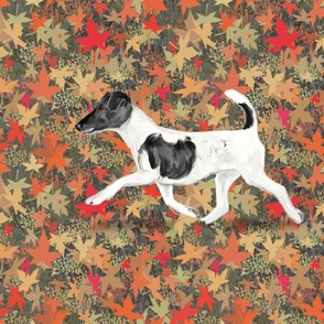 Smooth Fox Terrier on Autumn Leaves for Pillow