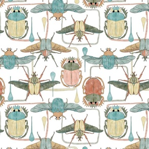 Retro Beetles (large scale) for tea towel