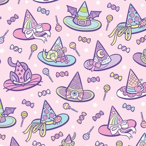 Pastel Witchy Hats in Pink