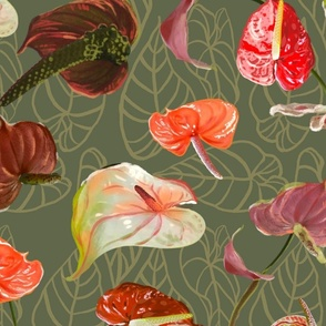 Scattered Anthuriums Matcha