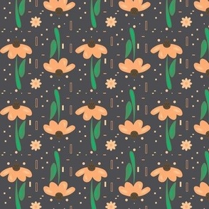 Peach flowers with green stem and dark background