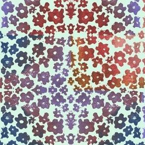 Large Floral Field Block Print on Mint