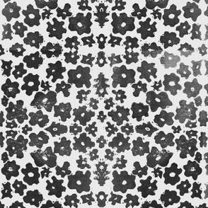Large Floral Field Block Print in Black and Grey