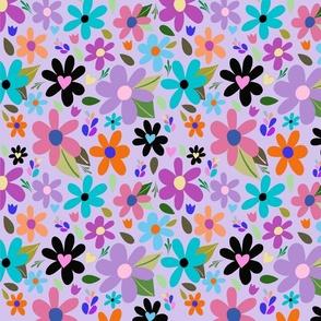 Pop Art Flower on Purple