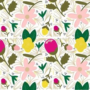 Bright floral pattern, hot pink, yellow, blush, green, cream