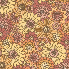 Red, Orange & Yellow Retro Flower Outlines  (Large Scale)