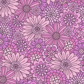 Pink & Purple Retro Flower Outlines  (Large Scale)