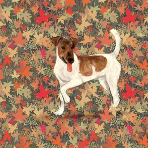 Brown and White Smooth Fox Terrier on Autumn Leaves for Pillow