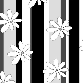 Stripes and Flowers in black and white