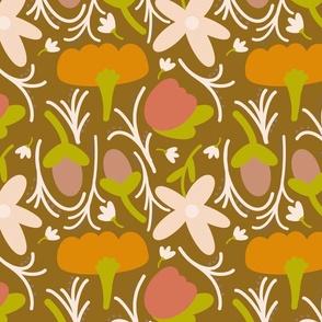 Retro Floral - orange, yellow, green