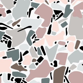 large scale terrazzo - pink and green