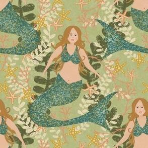 "6"" Mermaids on light green"