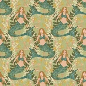 "4""x4""  Mermaids on Light Green"