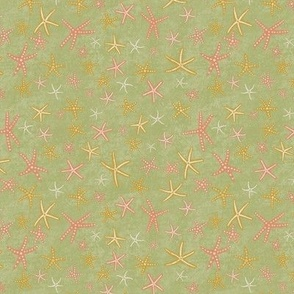 Sea Stars on Green