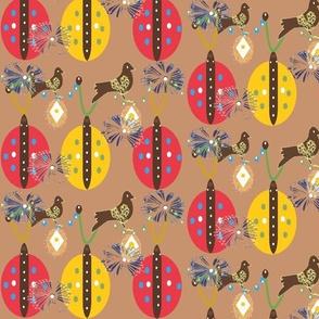 1940's Retro Ladybugs, Bird And Dandelion Garden - Terracotta