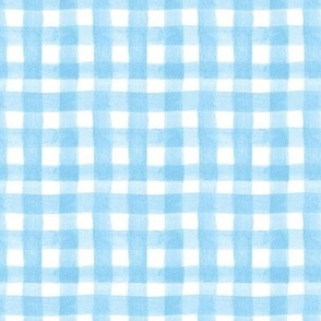 watercolor gingham baby blue