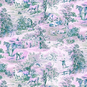 Farm Scene Toile in Pink, Green and Blues