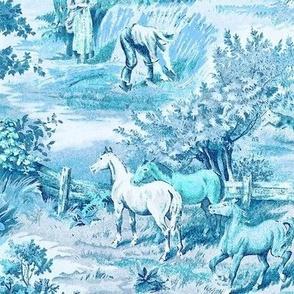 Farm Scene Toile in Blue