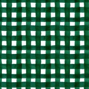 watercolor gingham dark green