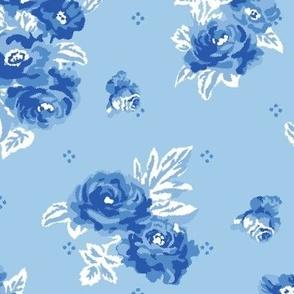 Blue rose vintage pattern