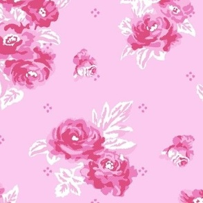 Pink and white vintage rose shabby chic pattern