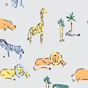 Safari Zoo animals pattern