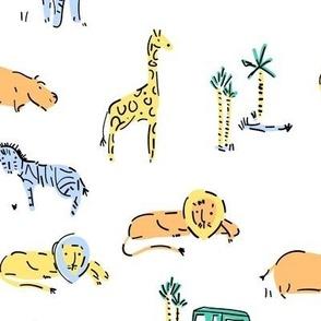 Safari Soon animals on white
