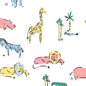 Pink Safari Zoo Animals