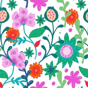 Colorful hand painted floral pattern