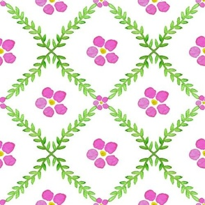 Pink flowers on diamond grid with yellow