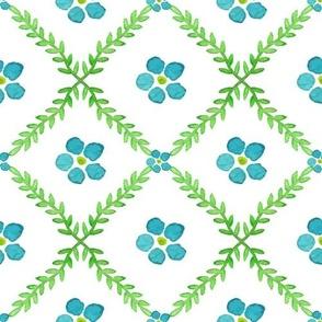 Blue Posies Floral print