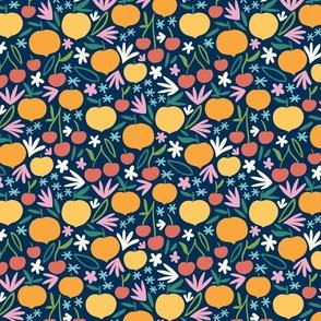Cherries, peaches and flowers