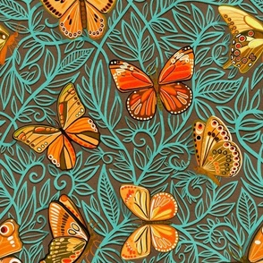 Butterfly Art Nouveau in Retro Orange and Teal - large print