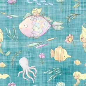 mermaid teal linen