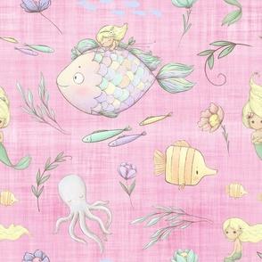 mermaid pink linen