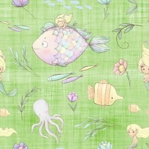 mermaid green linen