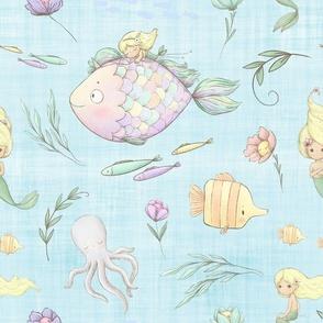 mermaid pastle blue linen