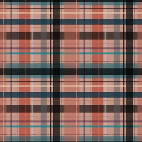 plaid - pastel red and teal