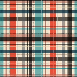 plaid - bright red and teal