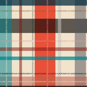 large scale plaid - bright red and teal