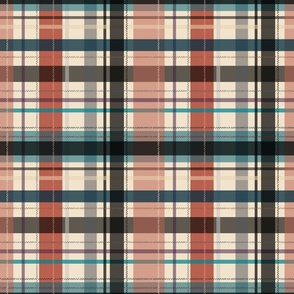 plaid - red and teal