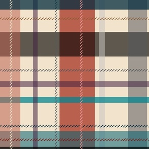 large scale plaid - red and teal