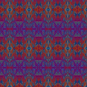 Mono printed geometric rich reds