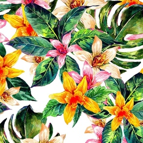 Tropical Watercolor Floral Large