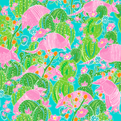 Pink Armadillos in a Cactus Grove