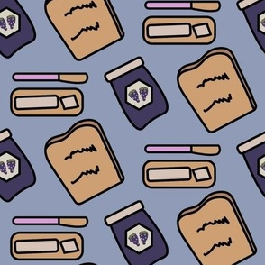 Toast, butter and grape jam on a light purple background