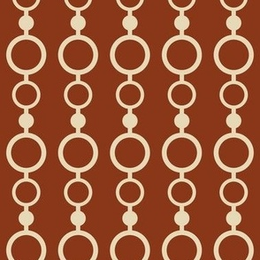 Tan lines and circles on a red background