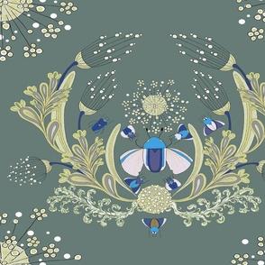 Art Nouveau Beetles and Queen Anne's Lace V7