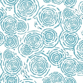 WATER RIPPLES AND LITTLE FISH - TURQUOISE ON WHITE